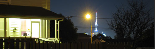 A view from Belmont to Sky Tower at night